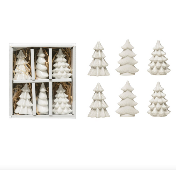 small porcelain trees