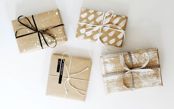 Golden wrapping paper for Christmas
