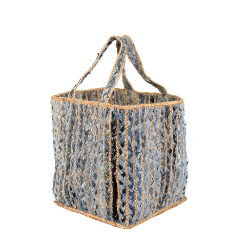Large denim weave storage basket