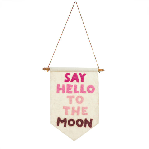 Say hello to the moon felt banner