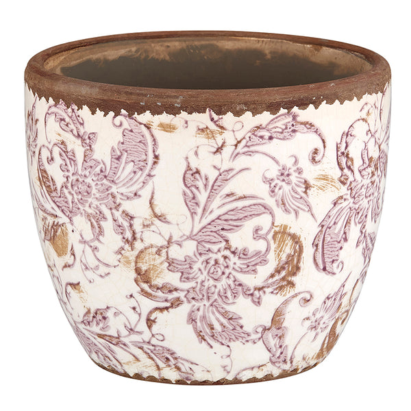 Mauve & Cream Floral Pot