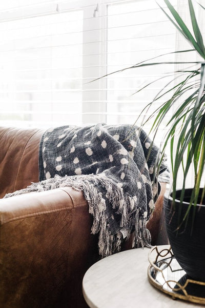 Cotton Slub Polka Dot Throw in Charcoal