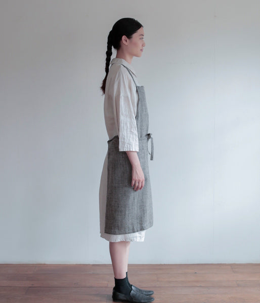 Linen Chocolate Herringbone Apron