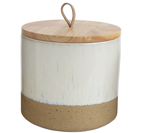 Round stoneware canister with a wood lid and leather loop