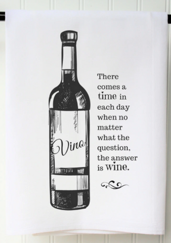 """The Answer is Wine"" Tea Towel"
