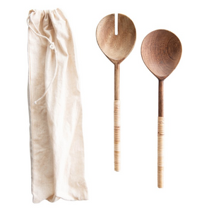 Wood Salad Servers with Bamboo Wrapped Handles, Set of 2 in Drawstring Bag