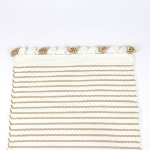 Beige Stripe Bathroom Mat