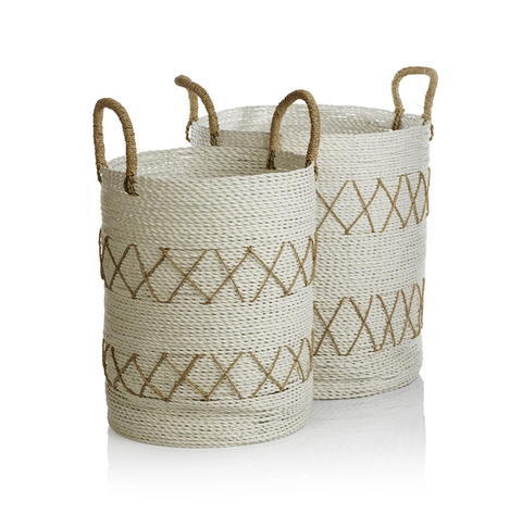 White Basket with Wrapped Handles