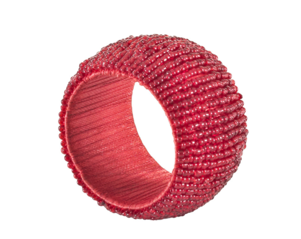Red Beaded Napkin Ring Set