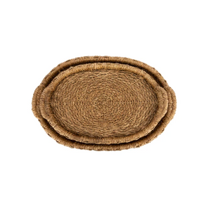 Oval Hand-Woven Seagrass & Rattan Trays w/ Handles, Natural, Set of 2