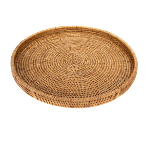 Brown Round Rattan Serving Tray