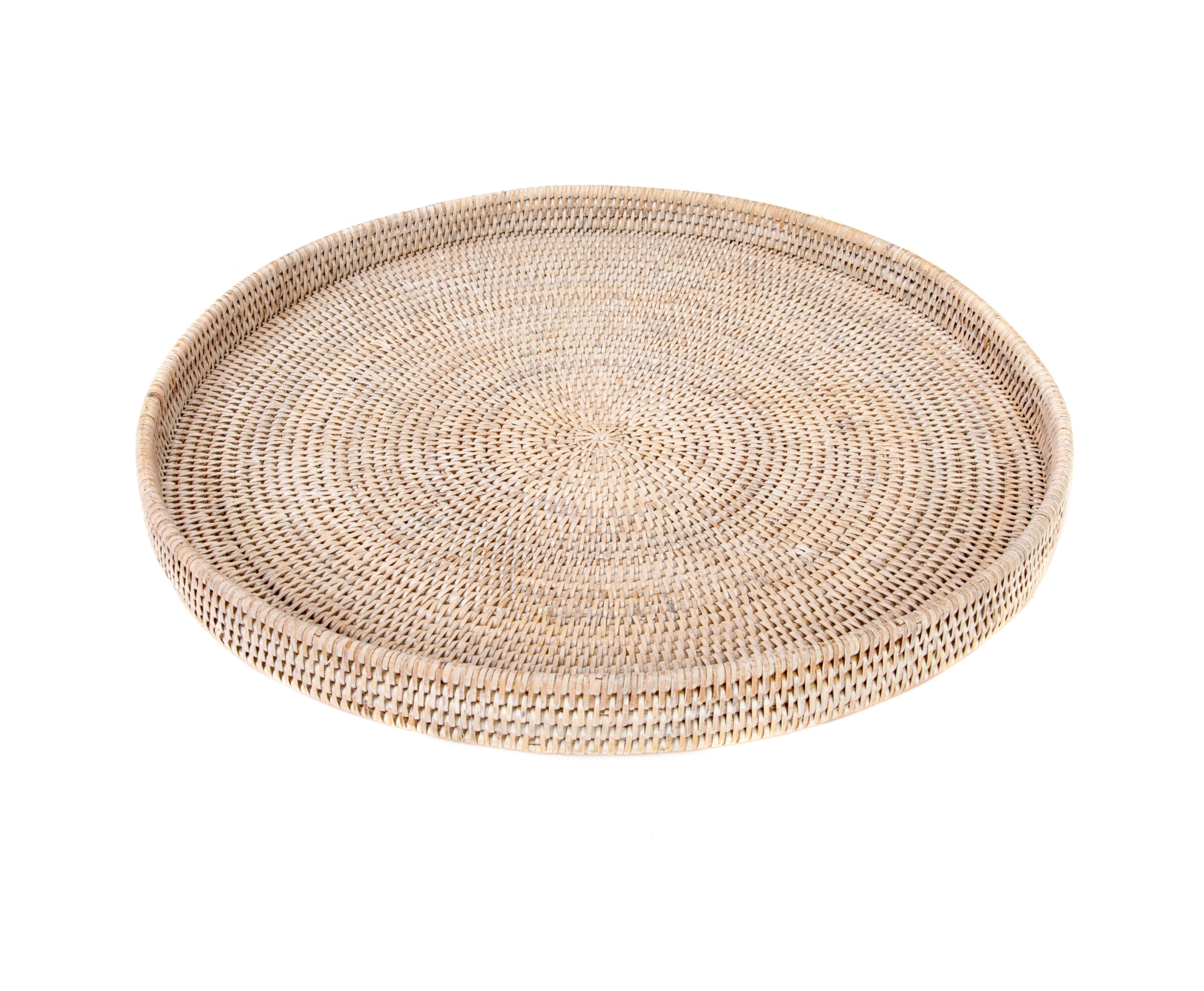 Whitewashed Round Rattan Serving Tray