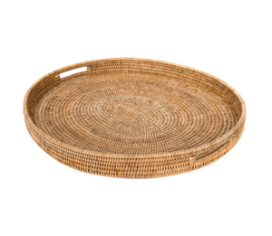 Oval Rattan Tray with Handles