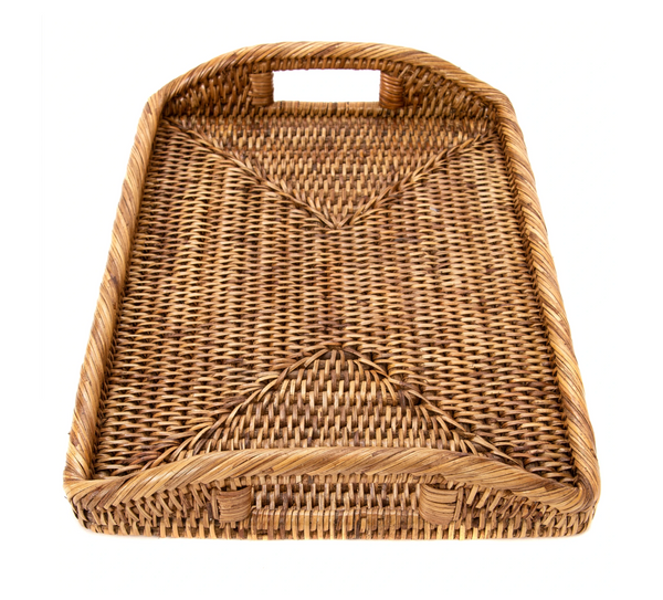 Brown Rectangular Rattan Tray