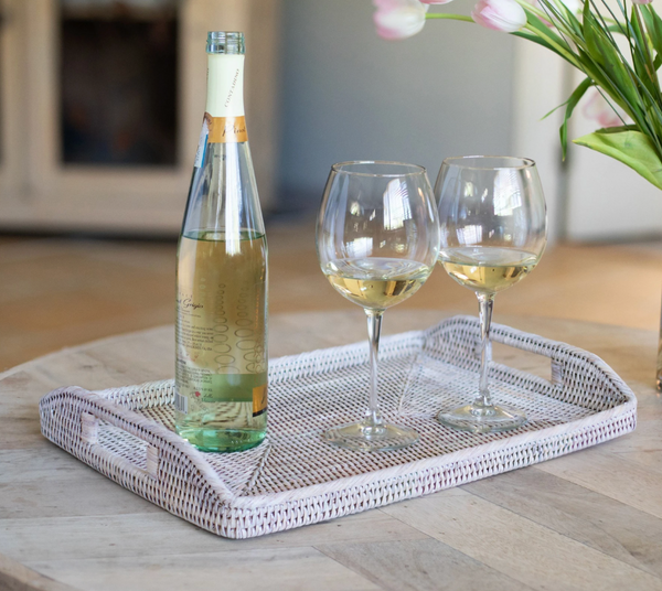 White Wash Rectangular Rattan Tray