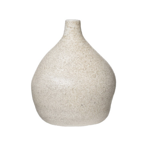 Small Terra-cotta Vase, Distressed Cream Glaze