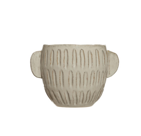 Embossed Stoneware Planter,