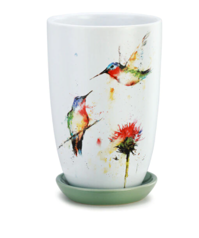 Hummingbird Pot with Saucer