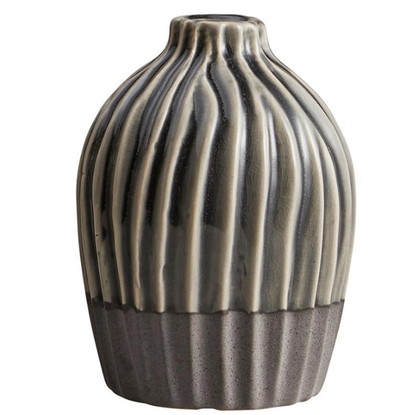Dual Tone Ribbed Grey Vase