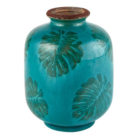 Tropical Leaf Teal Bud Vase