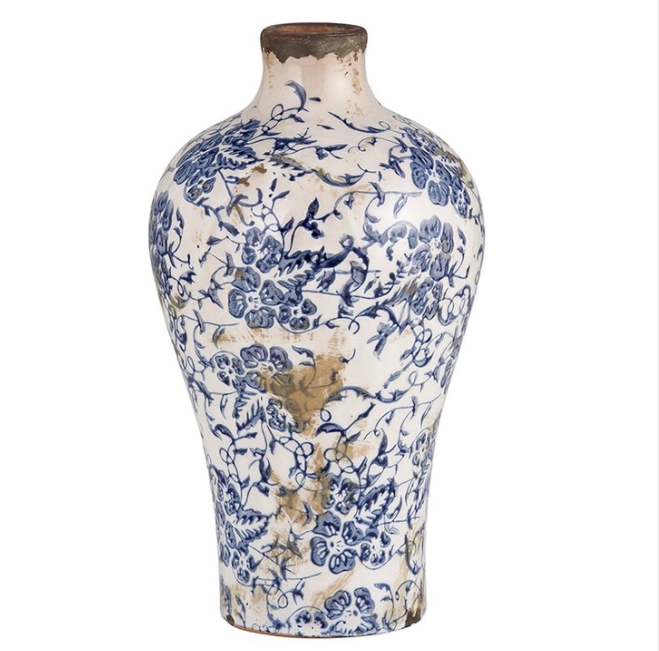 Large Vintage Blue & White Vase
