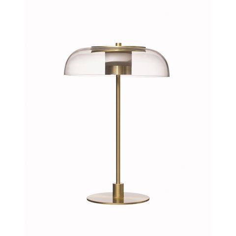 Metal LED Table Lamp with Clear Glass Shade & Inline Switch