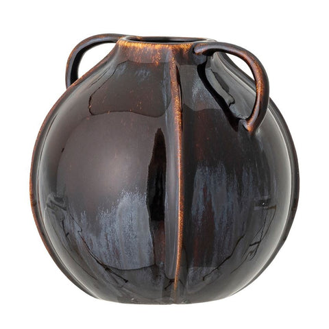 Blue/Brown Stoneware Vase with Handles, Reactive Glaze