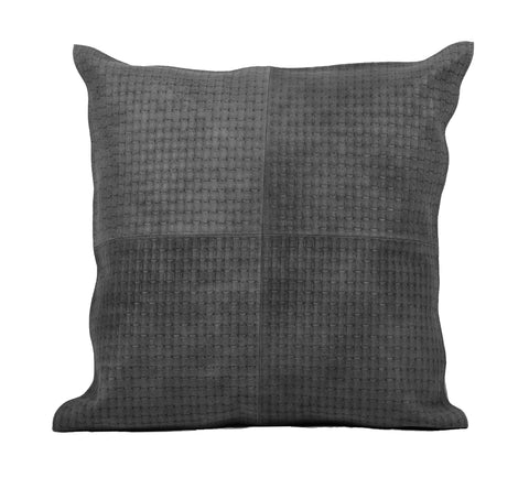 Basketweave Black Leather Pillow