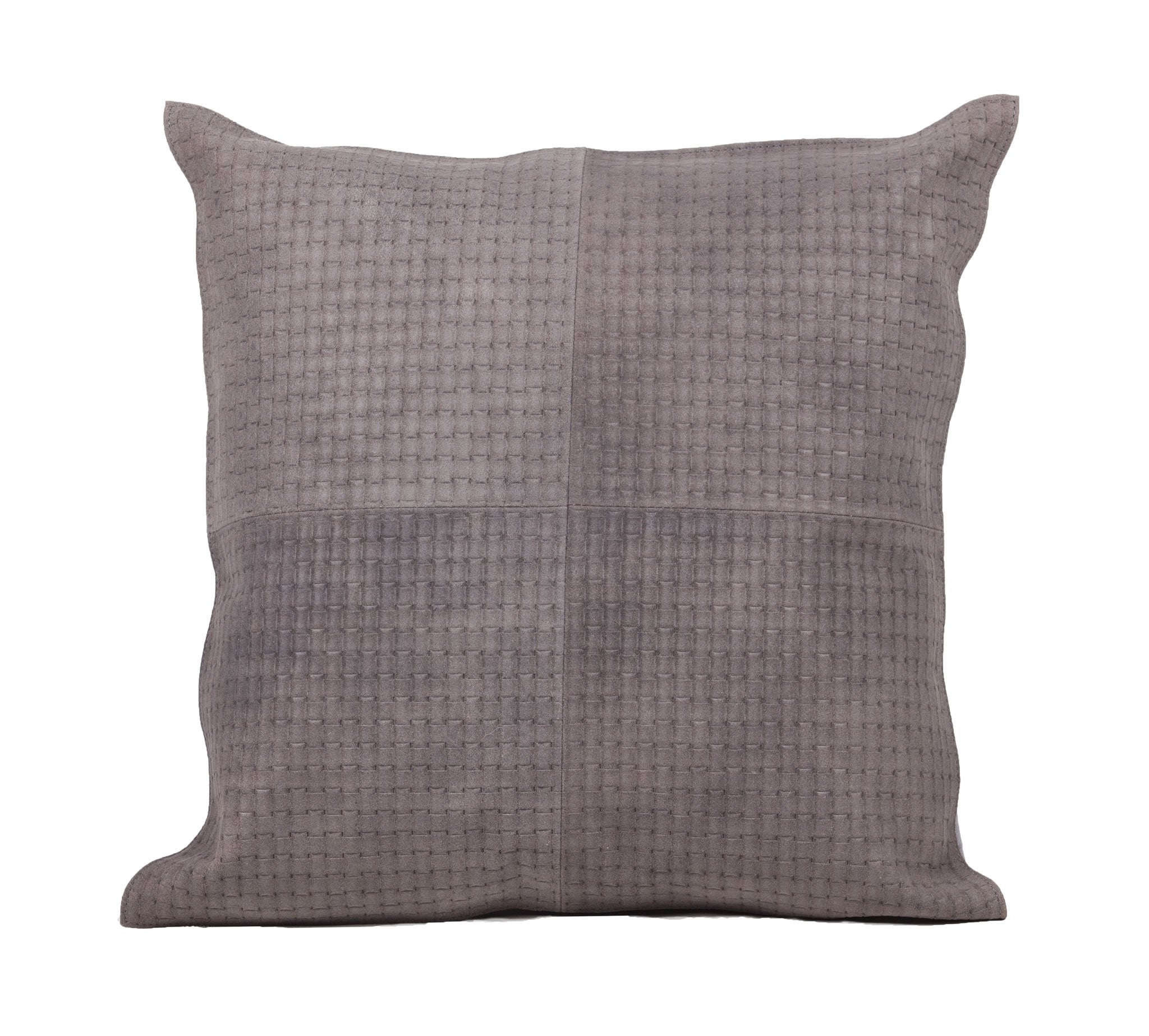 Basketweave Grey Leather Pillow