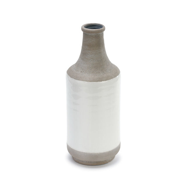 Two tone vase in stoneware grey and white