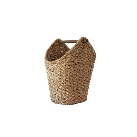 Basket with a wood handle