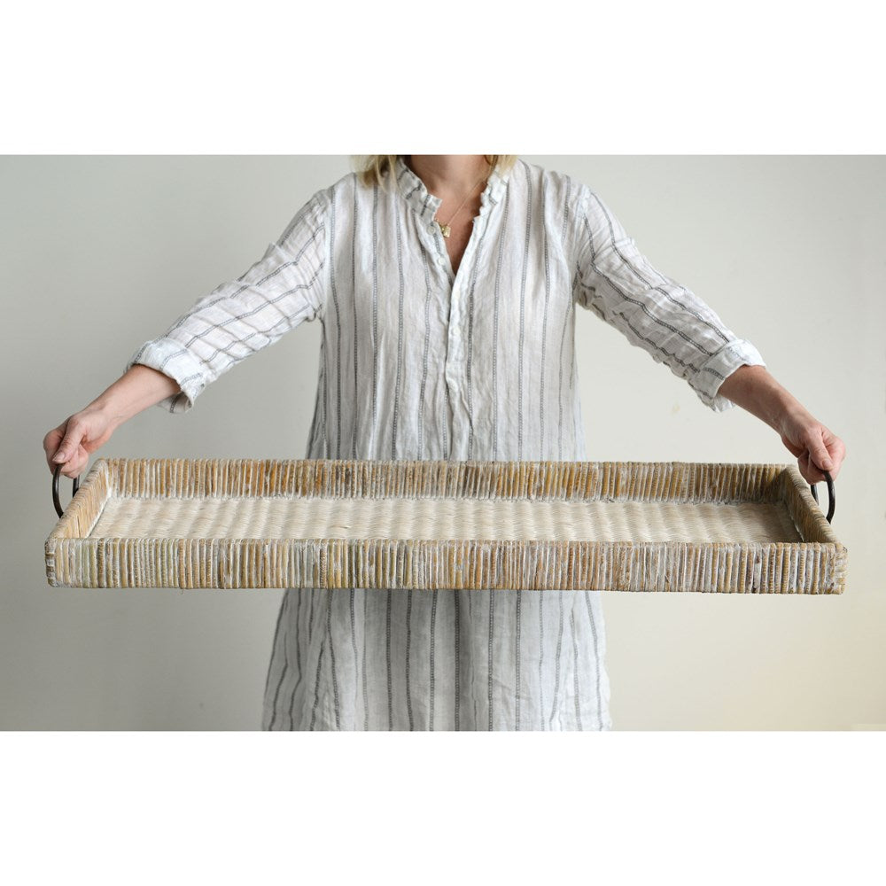 Natural Oversized Rattan Tray