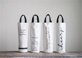 Fun Fabric wine bags with black handles