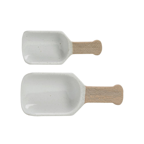 Porcelain Scoops in White, Set of 2
