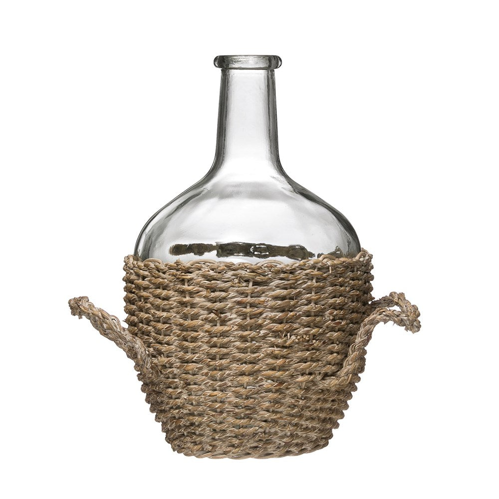 Glass Bottle in Woven Seagrass Basket with Handles