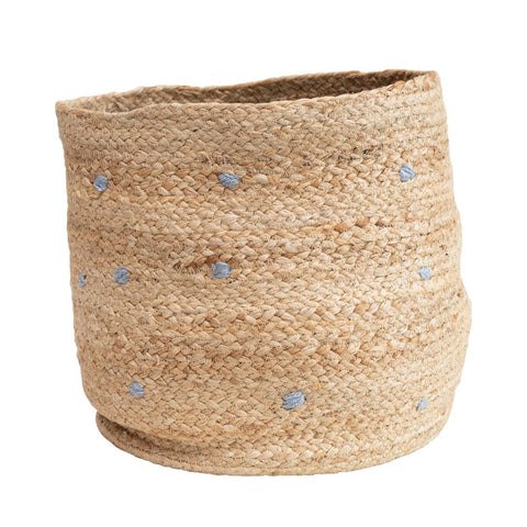 Hand-Woven Jute Basket with Grey Embroidered Dots