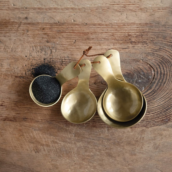 Brass Metal Scoops w/ Leather Tie