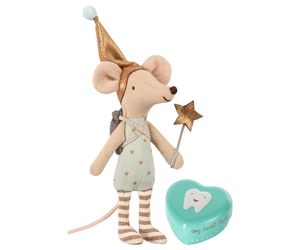 Tooth Fairy Blue Mouse in a Metal Box