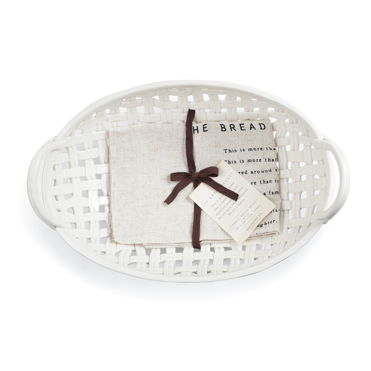 Ceramic Bread Basket with Towel