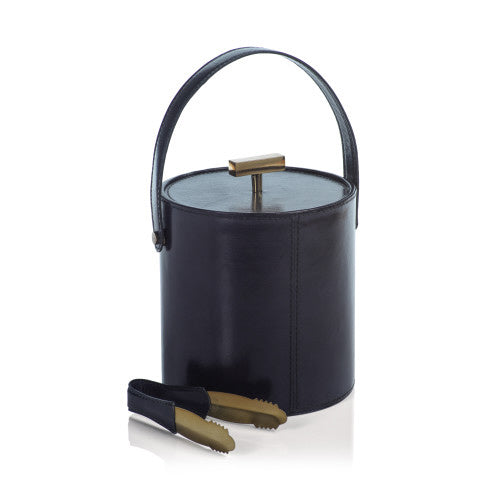 Umbria Blue Leather Ice Bucket