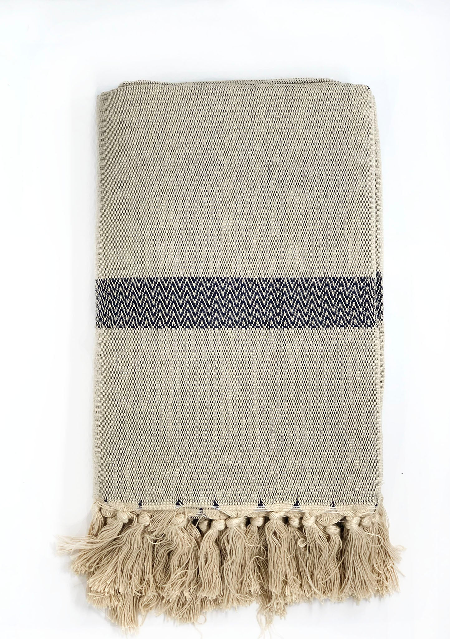 Handwoven bamboo and cotton throw.