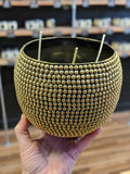 Large Gold Metallic Beaded Vessel