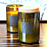 Recycled Glass Wine Bottle 10oz Soy Wax Candle