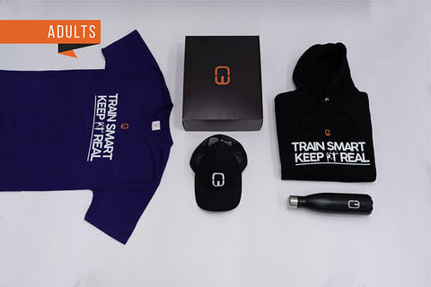 Train Smart Keep It Real Adult Christmas Bundle with Personalised Black Hoodie and Purple Tee