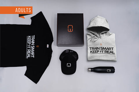 Train Smart Keep It Real Adult Christmas Bundle with Personalised Grey Hoodie and Black Tee