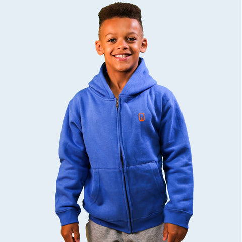 Model shot of a boy wearing a Royal Blue children's hoodie. With the Nile Wilson NW logo on the front. Nile Wilson Clothing
