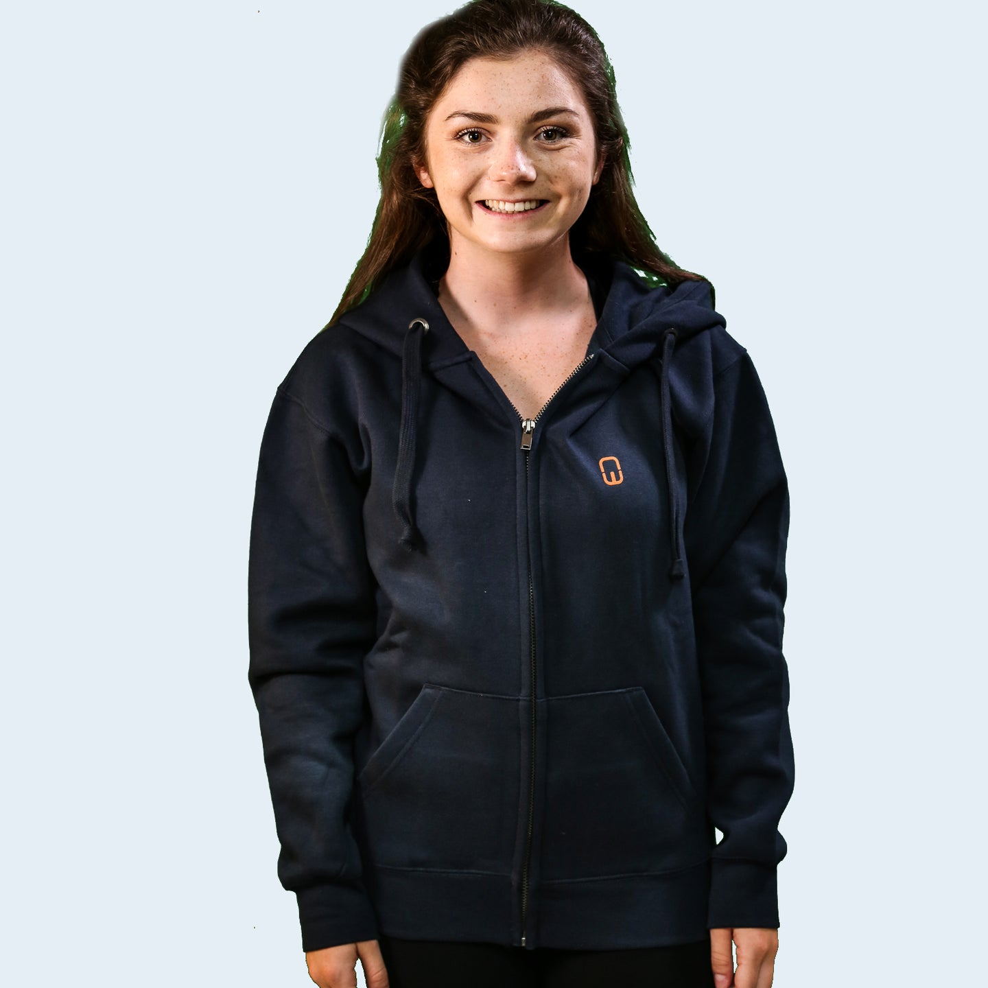 Model shot of Joanna Wilson wearing an adult's navy blue NW clothing logo Hoodie. Nile Wilson Clothing