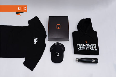 Train Smart Keep It Real Kid's Christmas Bundle with personalised Black Hoodie and Black Tee