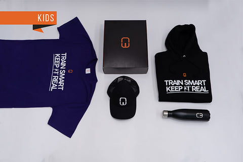 Train Smart Keep It Real Kid's Christmas Bundle with personalised Black Hoodie and Purple Tee