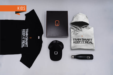 Train Smart Keep It Real Kid's Christmas Bundle with personalised Grey Hoodie and Black Tee
